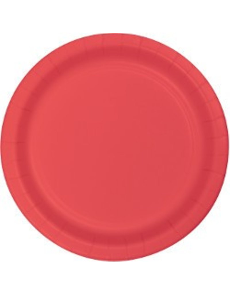 """7"""" Round Plates  Coral"""