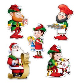 Santa And Elves Cutouts-10-Pieces