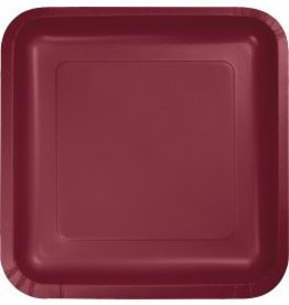 "9"" Square Plate Burgundy"