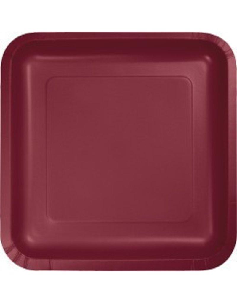 "9"" Square Plate Burgundy"