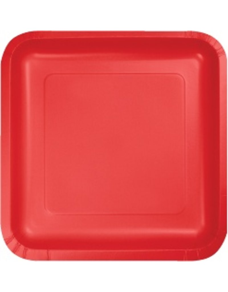 """9"""" Square Plate Classic Red"""