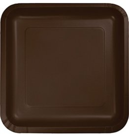 """9"""" Square Plate Chocolate Brown"""