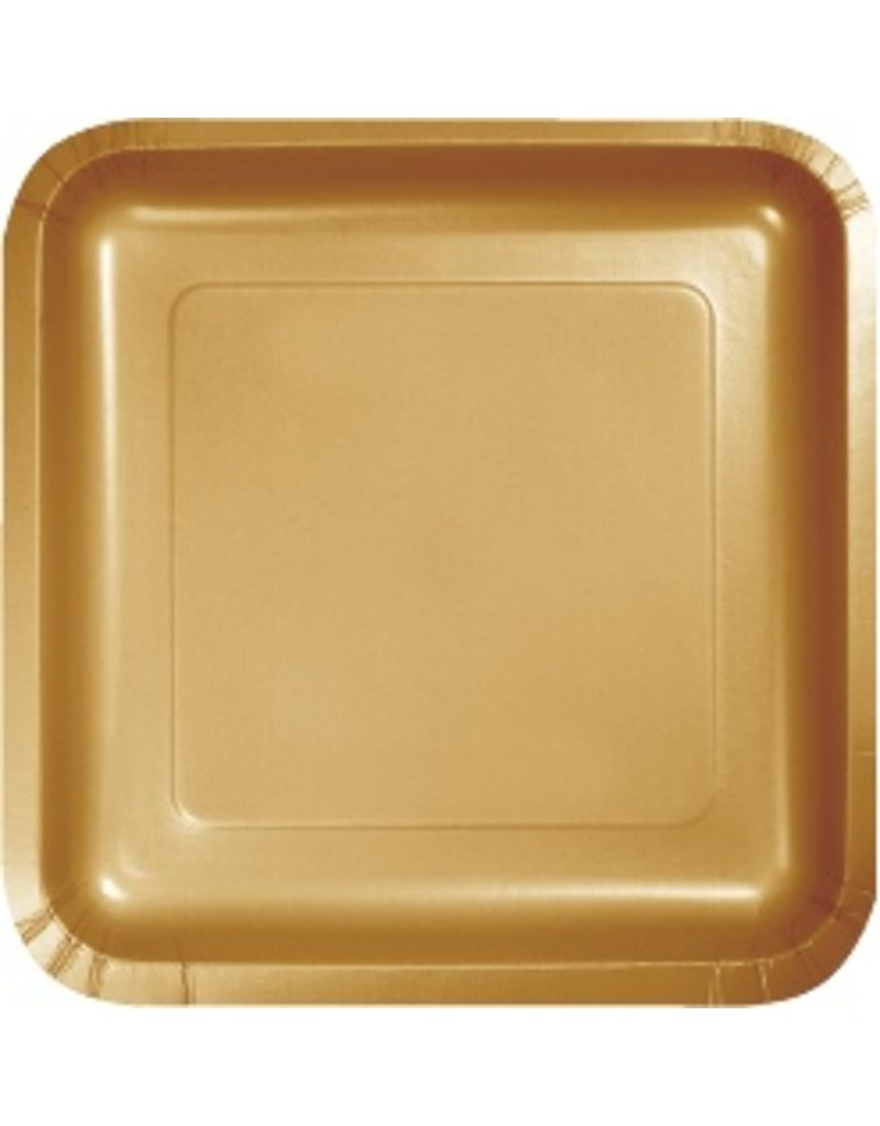 """7"""" Square Plates Glittering Gold"""