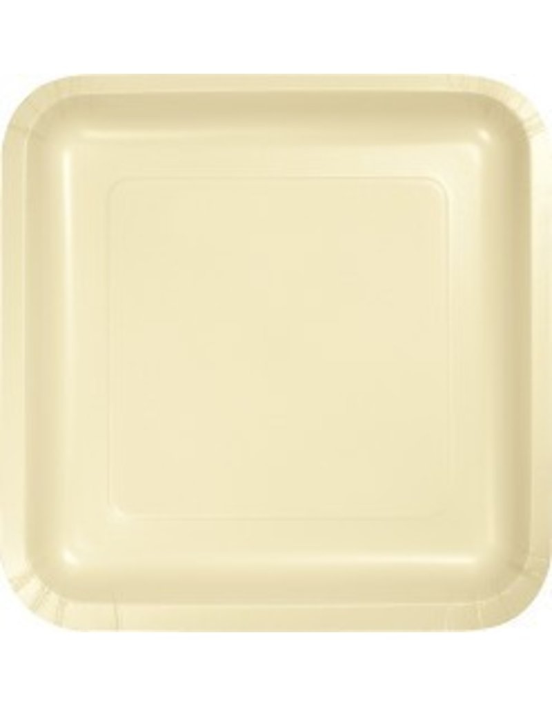 "7"" Square Plates Ivory"