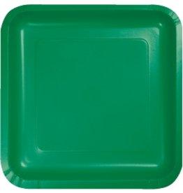 """7"""" Square Plates Emerald Green"""