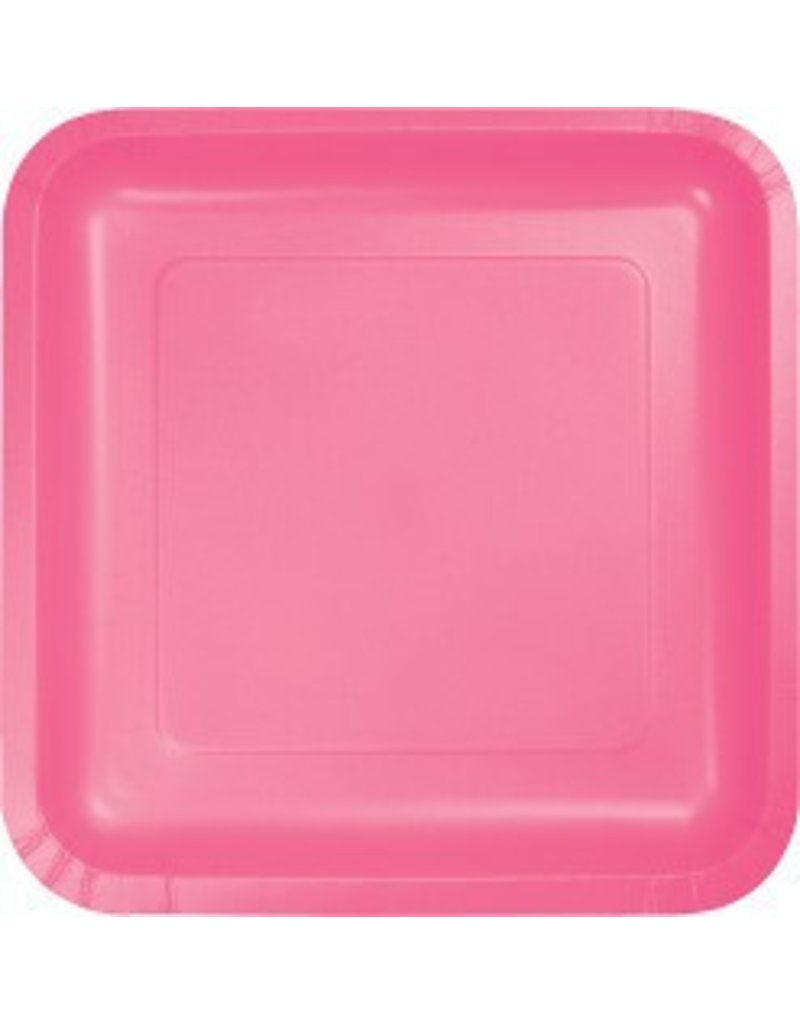 "7"" Square Plates Candy Pink"
