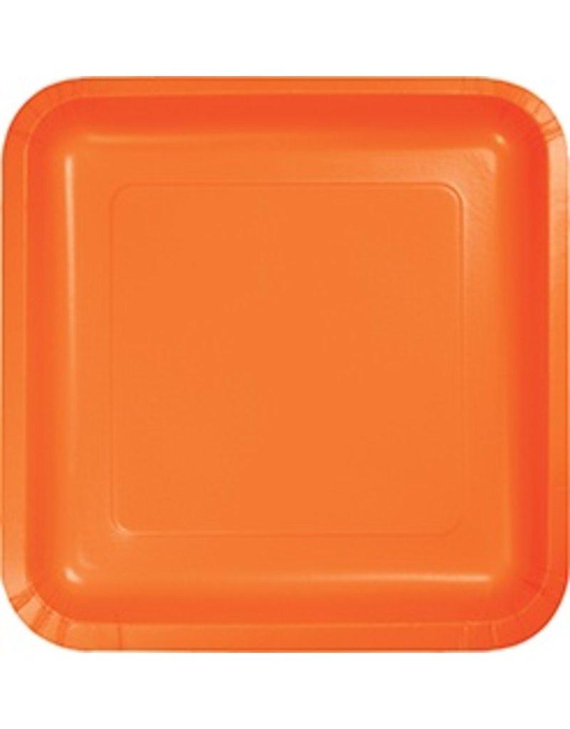 """7"""" Square Plates Sunkissed Orange"""