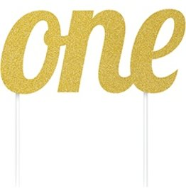 one Gold Cake Topper