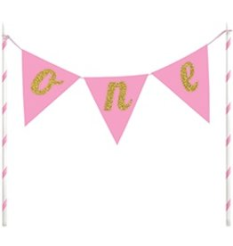 Cake Topper One Pennants Pink