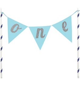 Cake Topper One Pennants Blue