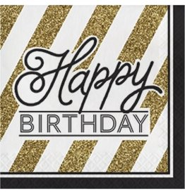 Luncheon Napkins Happy Birthday Black & Gold
