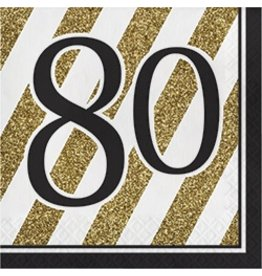 Luncheon Napkins 80 Black & Gold