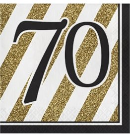 Luncheon Napkins 70 Black & Gold