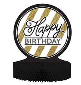 Happy Birthday Black & Gold Centerpiece