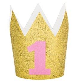Glitter Crown 1st Birthday Pink