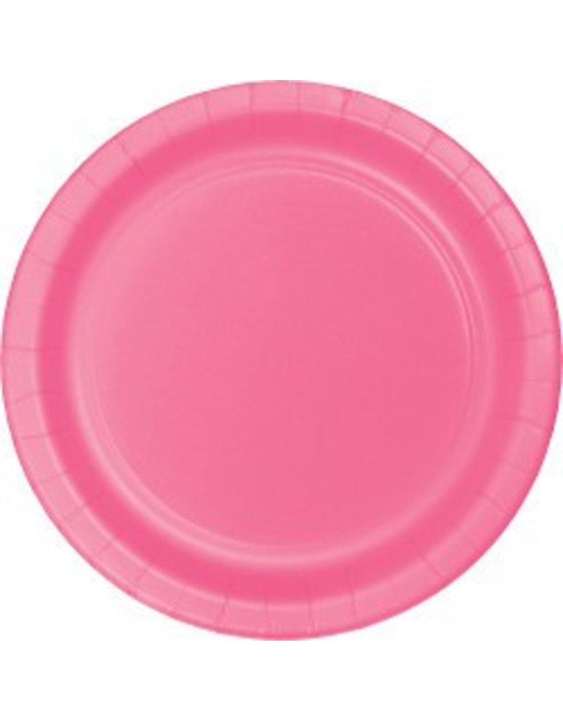 "7"" Round Plates  Candy Pink"