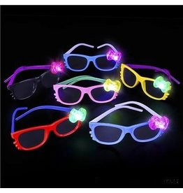 Nerd Glasses with Flashing Bow