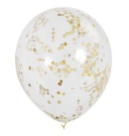 Six Gold Confetti Balloons