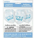 6 It's A Boy Confetti Balloons