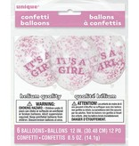 6 It's A Girl Confetti Balloons