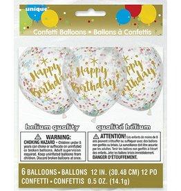 Six Happy Birthday Confetti Balloons