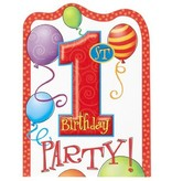 1st Birthday Balloons Invitations 8 Ct