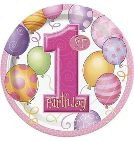"1st Birthday Pink 9"" Plate"