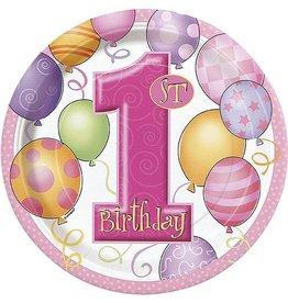 "1st Birthday Pink 7"" Plate"