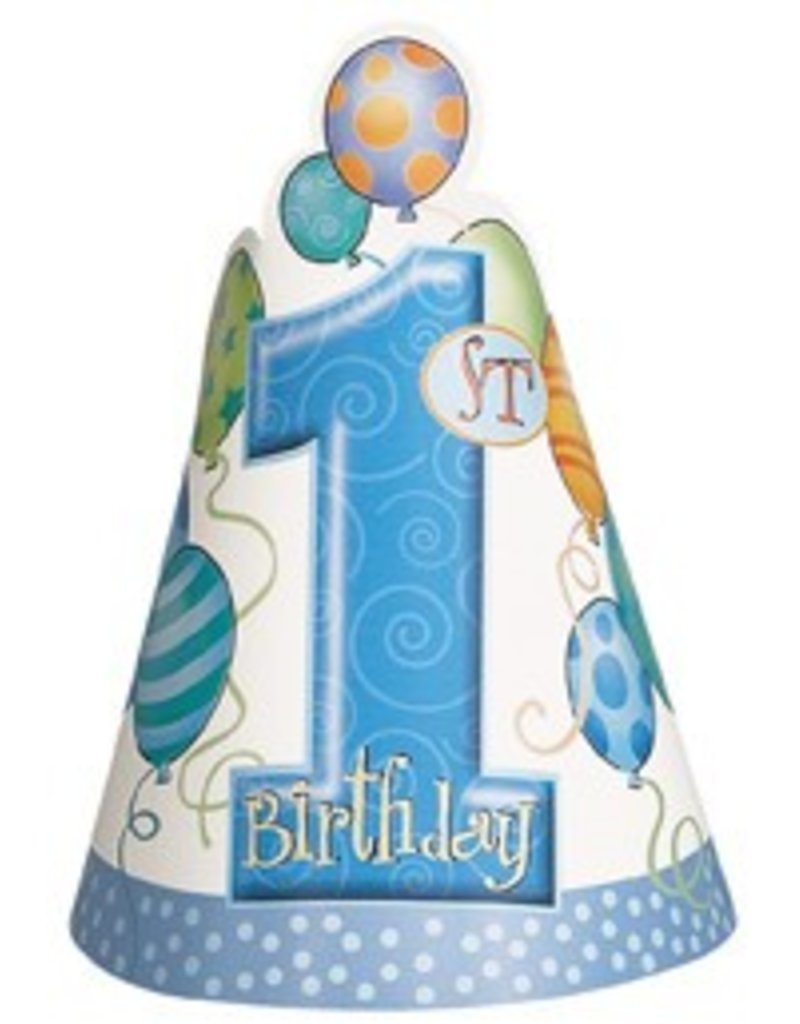 1st Birthday Blue Party Hats 8 CT