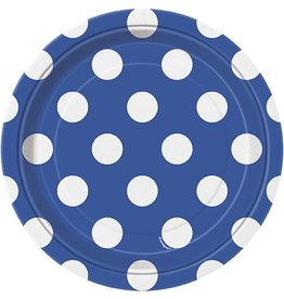 """Blue Polka Dot 7"""" Plate 8 CT"""