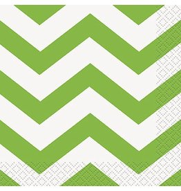 Lime Chevron Beverage Napkin 16 CT