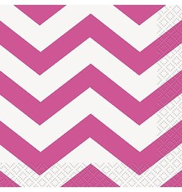 Hot Pink Chevron Beverage Napkin 16 CT