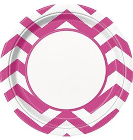 "Hot Pink Chevron 9"" Plate 8 CT"