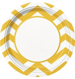 "Yellow Chevron 9"" Plate 8 CT"
