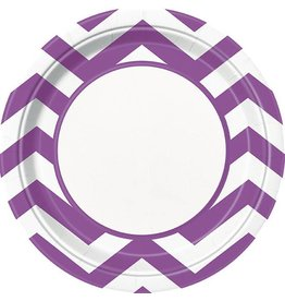 "Purple Chevron 9"" Plate 8 CT"