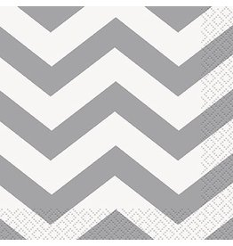 Silver Chevron Beverage Napkin 16 CT