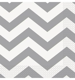 Silver Chevron Luncheon Napkin 16 CT