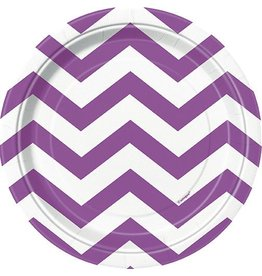 "Purple Chevron 7"" Plate 8 CT"