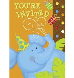 Jungle Party Invitations 8 CT