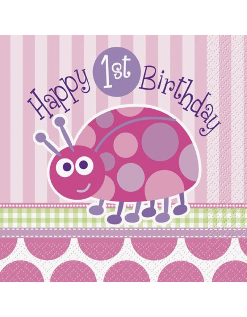 1st Birthday Lady Bug Luncheon Napkin 16 CT