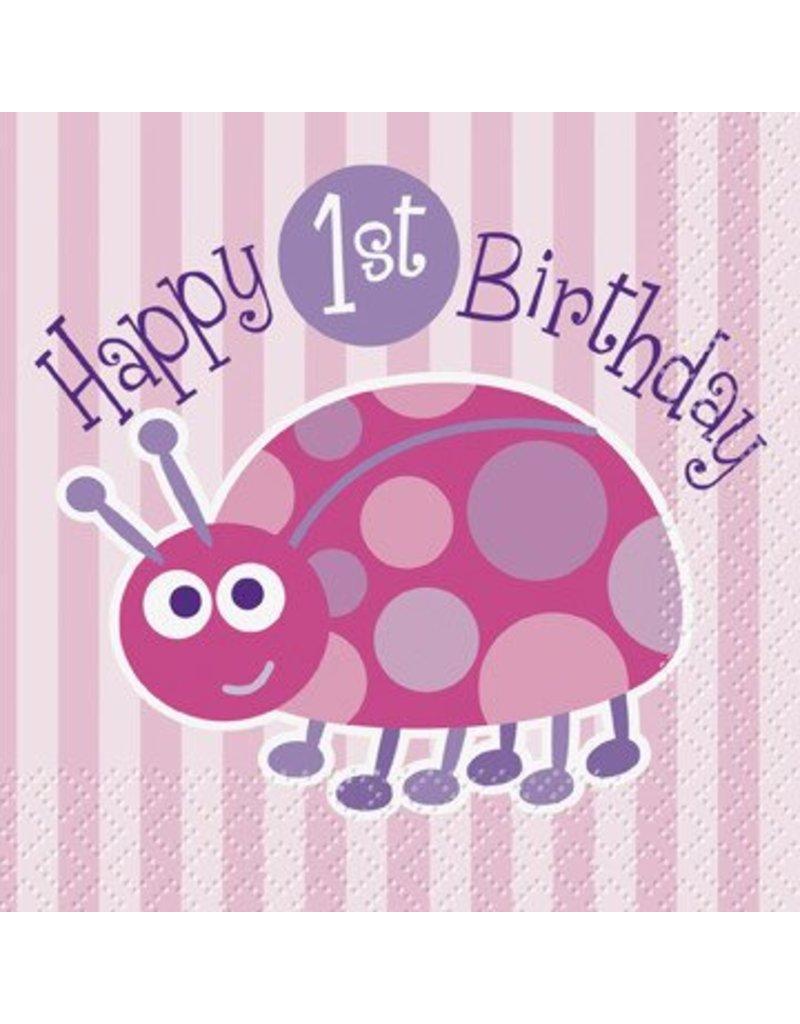 1st Birthday Lady Bug Beverage Napkin 16 CT