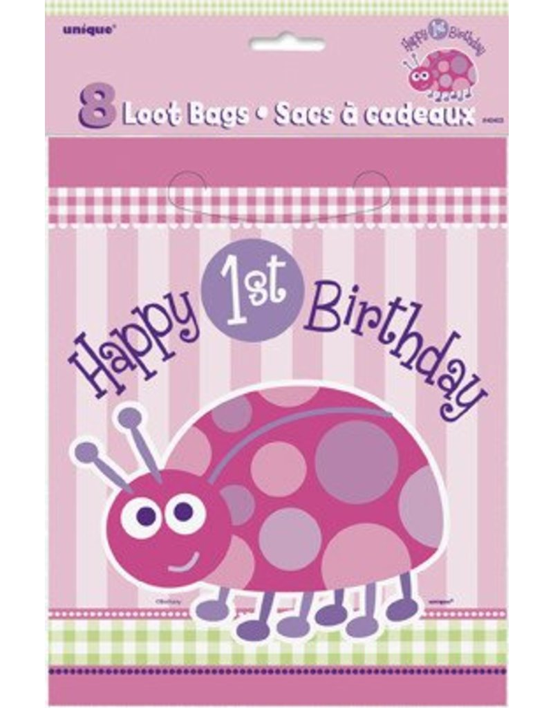 1st Birthday Lady Bug Loot Bags 8 Ct