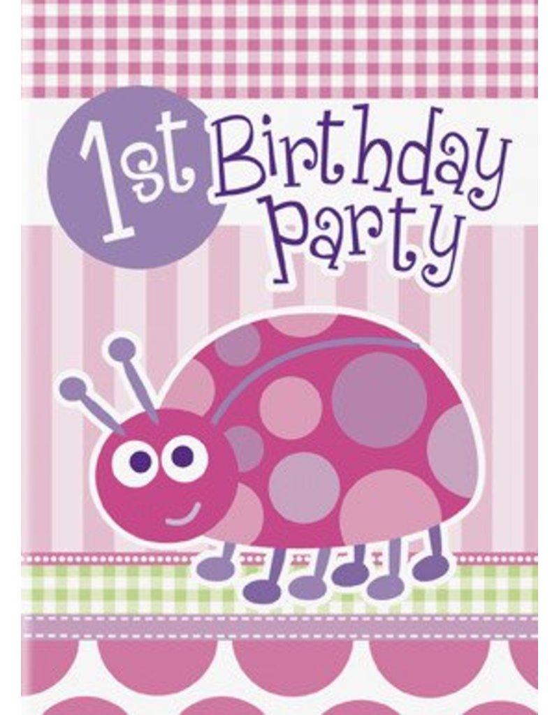1st Birthday Lady Bug Invitations 8 CT