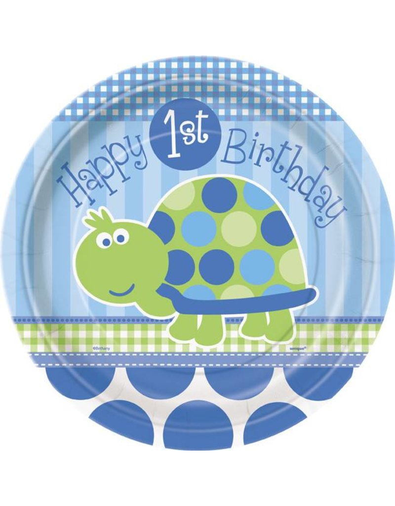 "1st Birthday Turtle 9"" Plate 8 CT"