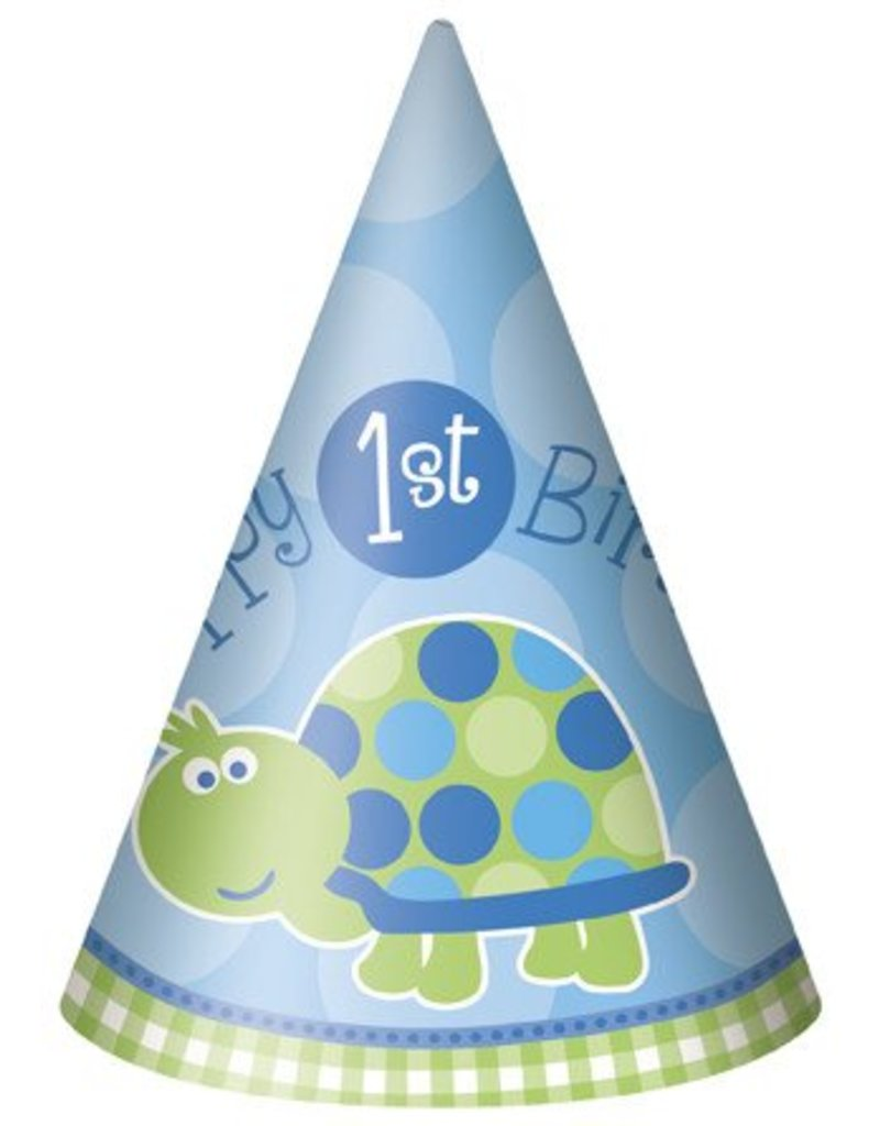 1st Birthday Turtle Party Hats 8 CT