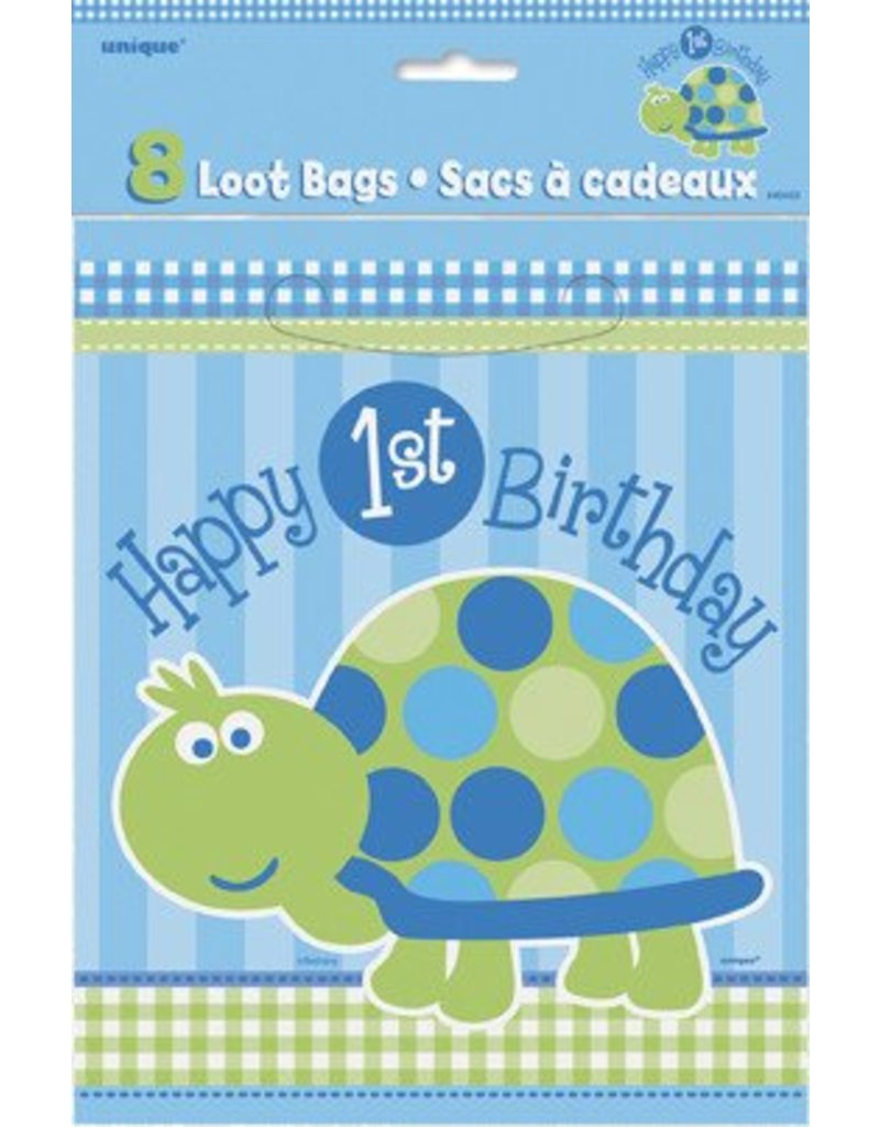 1st Birthday Turtle Loot Bags 8 CT