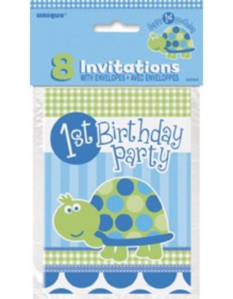 1st Birthday Turtle Invitations 8 CT