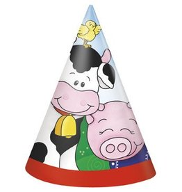 Farm Friends Party Hats 8 CT