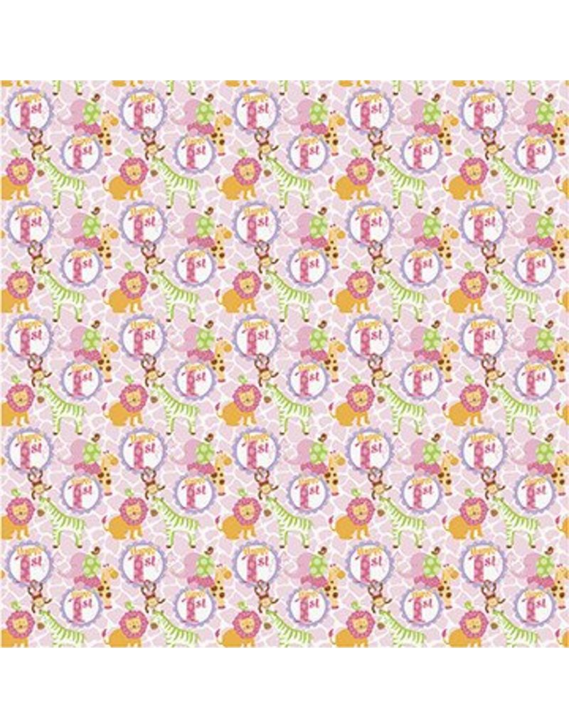 1st Safari Pink Gift Wrap