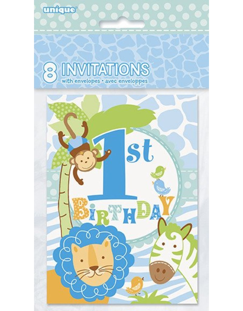 1st Safari Blue Invitations 8 CT